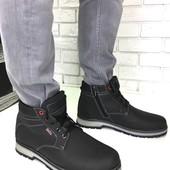 Натуральные кожаные зимние мужские ботинки на меху, код ех-2009-1