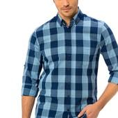 мужская рубашка синяя LC Waikiki в голубую полоску с карманом на груди
