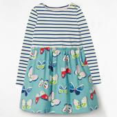 Платье для девочки с длинным рукавом. Полоска с бабочками. Jumping Meters