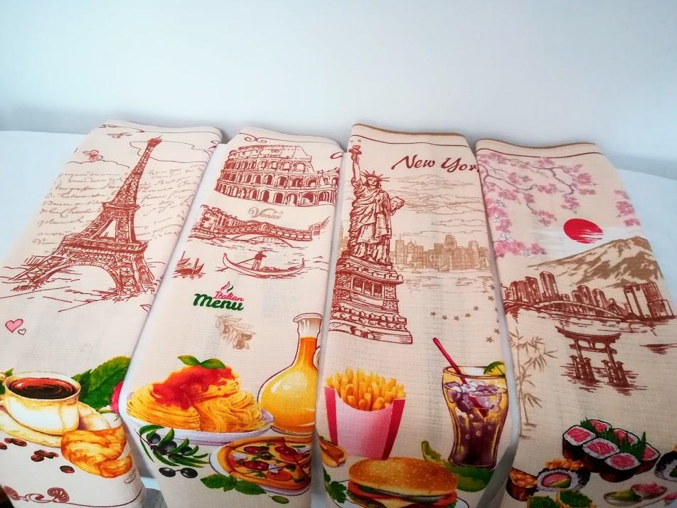 Города! набор красивых хлопковых полотенец для кухни, для дома! фото №1