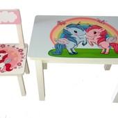 Детский столик и стульчик BS0182 Единороги