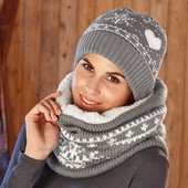 Модный теплющий вязаный шарф снуд с мехом ТСМ Чибо.