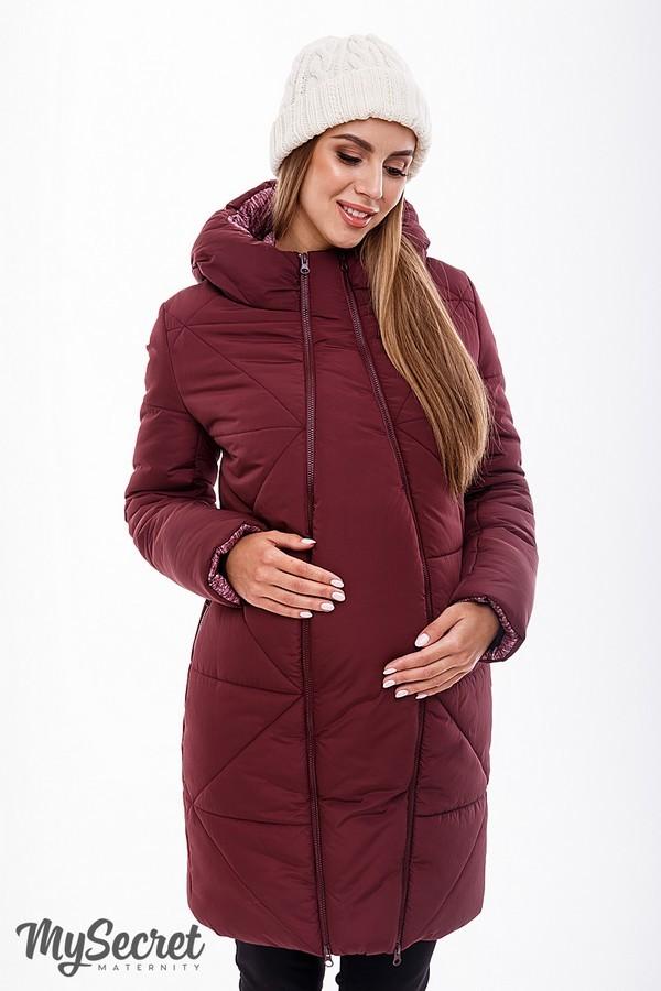 Зимняя куртка для беременных, марсала фото №1