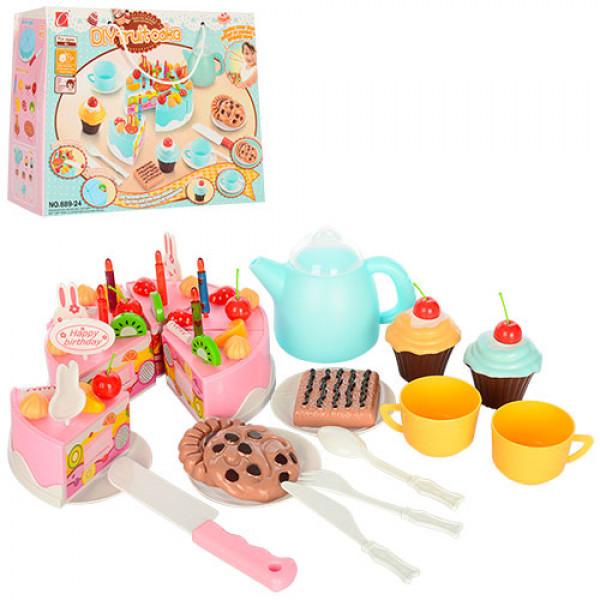 Акція!!!!!подарочный набор торт на липучке , свечки, сладости, посудка фото №1