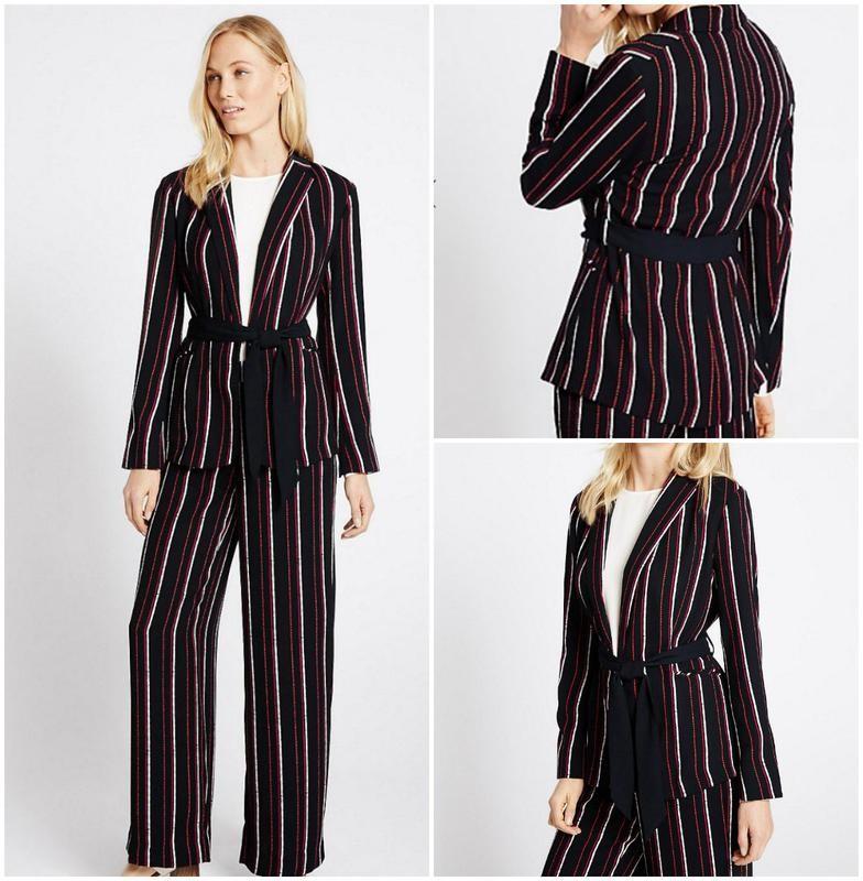 2f9f84d76b2 Стильный женский брючный костюм в полоску пиджак и брюки фото №1