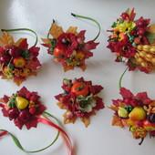 Обручи, заколки на праздник осени. Фрукты, яблоко, грушка, капустка