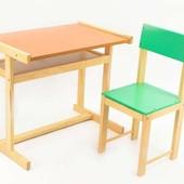 Детская парта и стул 32 см комплект, сосна