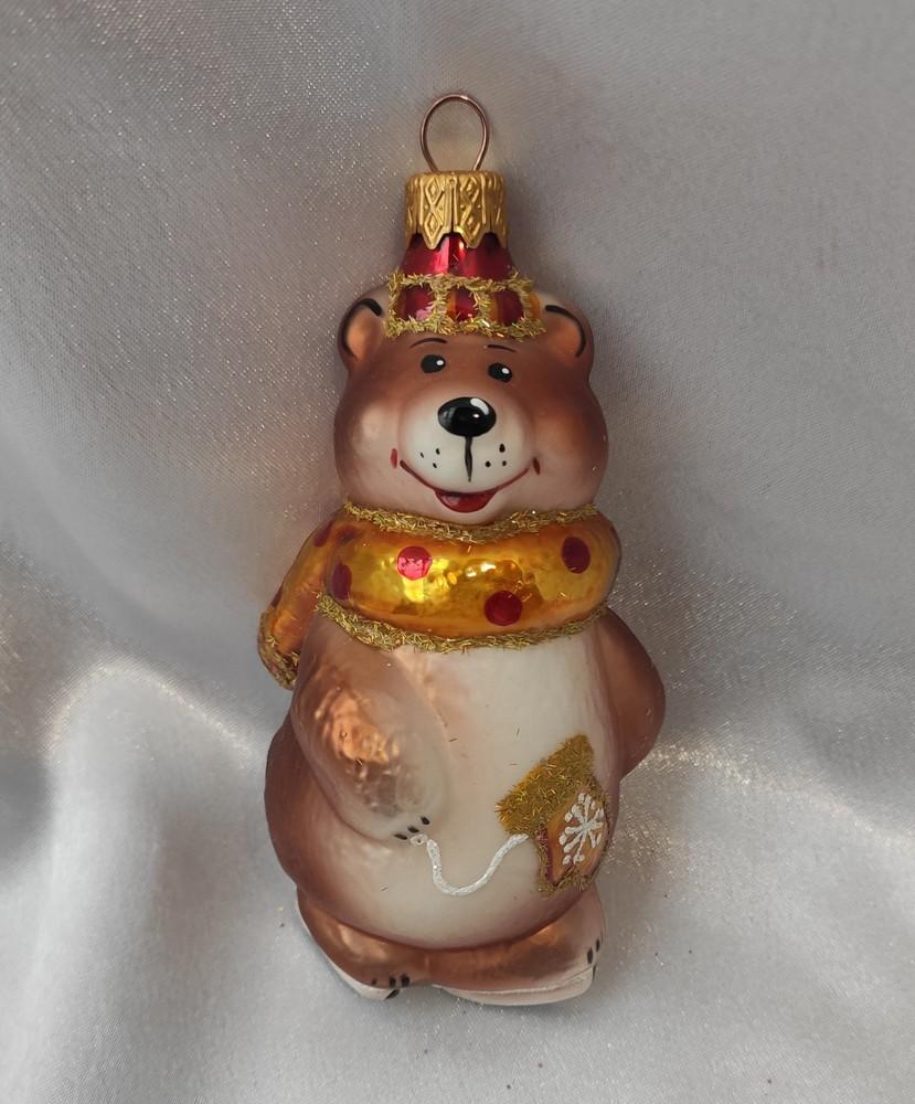 Стеклянная игрушка мишка на коньках фото №1