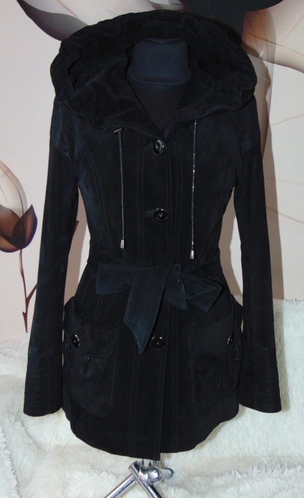 Скидказамшевая куртка,стильная с поясом  и капюшоном фото №1