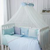 Комплект в кроватку Зайчики (Голубой, Молочный, Розовый)