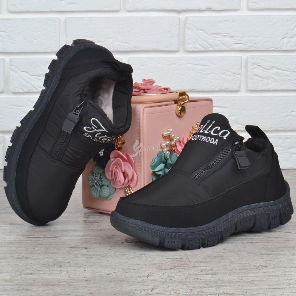 Дутые женские ботинки на платформе sport moda черные на молнии фото №1