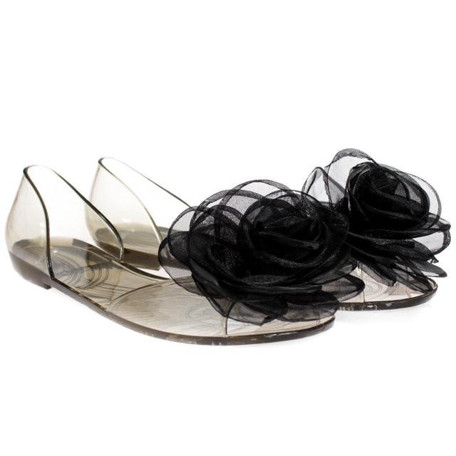 Балетки, босоножки, тапочки резиновые черного цвета женские фото №1