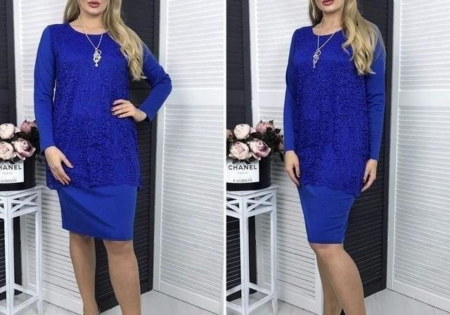 Элегантное платье с кружевом большого размера фото №1