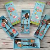 Детский подарочный набор столовых приборов ложка и вилка с мультяшными героями, детские приборы, лол