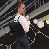 Дизайнерский женский рюкзак чёрный с экокожи для ноутбука, учебы, прогулок