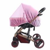 Москитная сетка для коляски розовая, голубая,коричневая