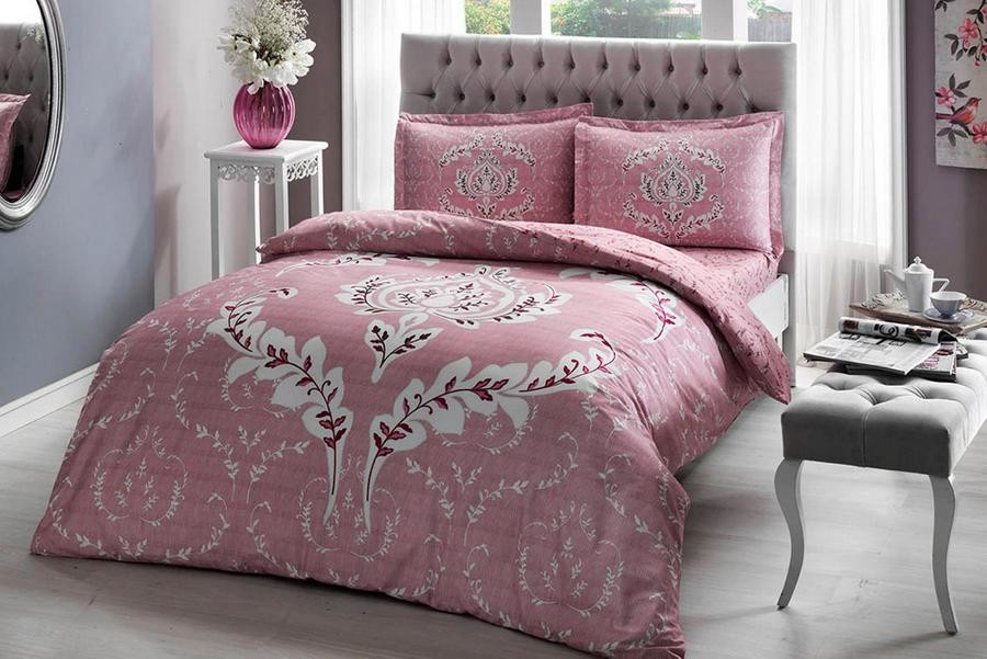Постельное белье tac сатин - romy pembe v05 розовый евро фото №1