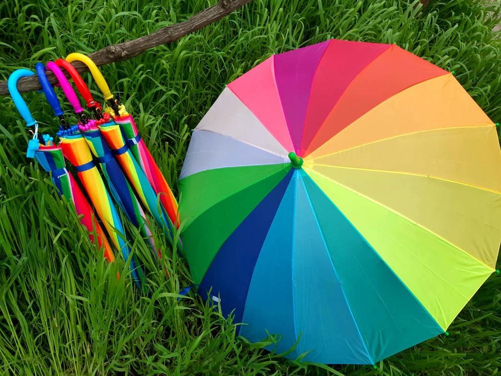 16 спиц радуга flagman качественный яркий зонт для девочки 8-13 лет фото №1