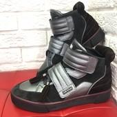 Зимние ботинки сникерсы хайтопы кожа