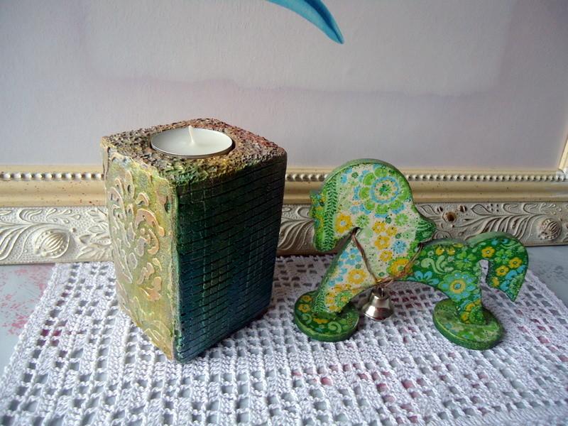 Гипсовый подсвечник зелёный. фото №1