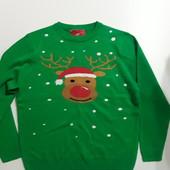 Фирменная новогодняя кофта свитер XL