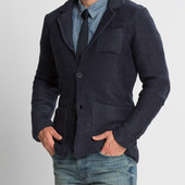 Синий мужской пиджак LC Waikiki / Лс Вайкики с накладными карманами, на 2 пуговицах