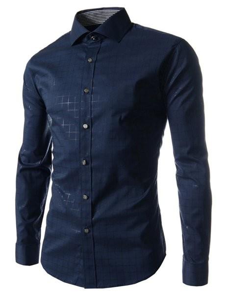 Рубашка длинный рукав с контрастным отворотом на манжетах код 70 (синяя) фото №1