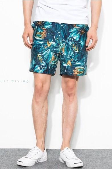 Мужские плавки на пляж тропический принт, шорты пляжные фото №1