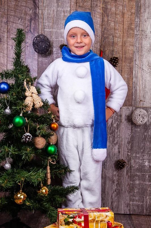 Новорічний костюм, сніговик, снеговик, 98-110 см фото №1