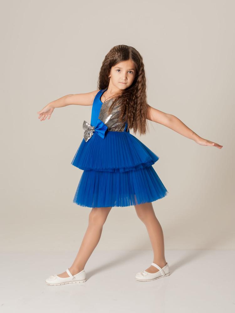 Нарядное платье с пайеткой и с двухьярусной пышной юбкой синее фото №1