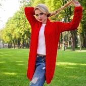 Новый вязаный кардиган Лоло ...насыщено красный,,размер хм,с,м...