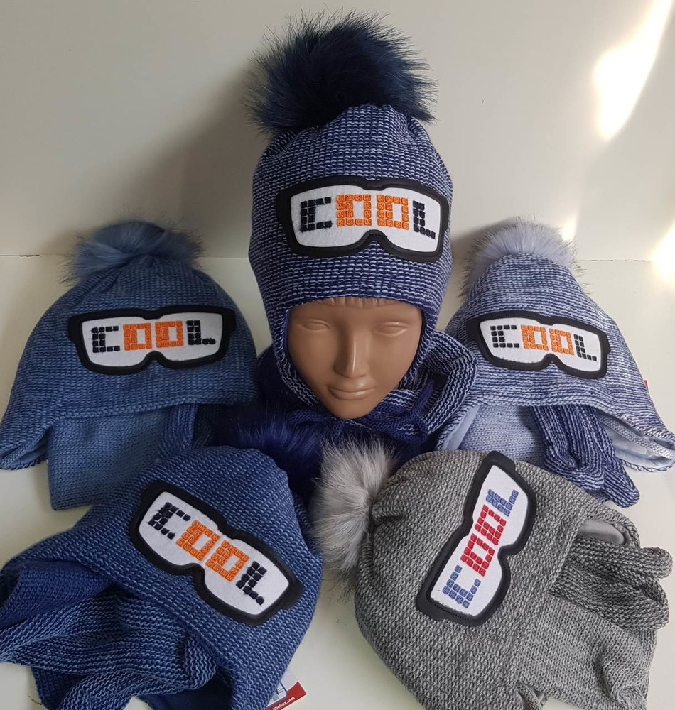 Тёплые зимние наборы шапка и хомут для мальчиков. размер 50-52. польша. фото №1