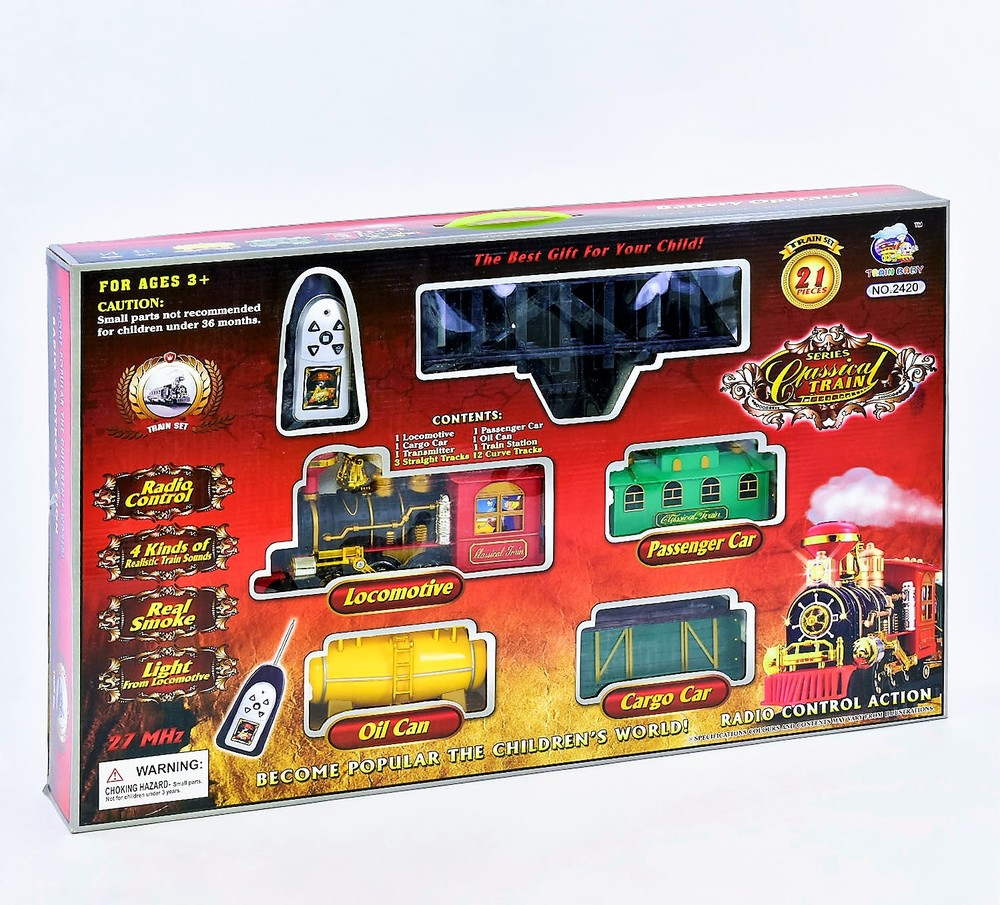 Железная дорога 2420 (8) паровоз на р/у, свет, звук, дым, в коробке фото №1