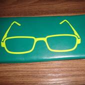 Бирюзовый мягкий футляр для очков с салфеткой новый