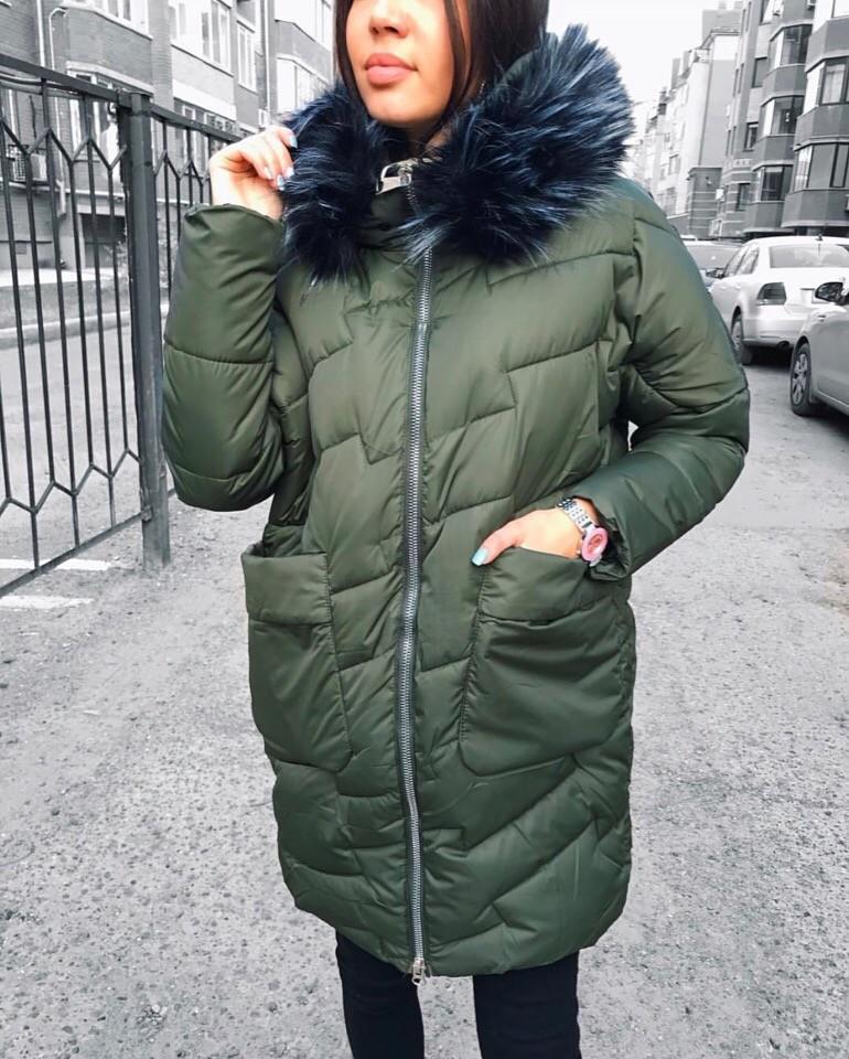 Куртка  #516 размеры:42, 44, 46 наполнитель: холофайбер, мех съёмный  цвет: синий, черный, хаки фото №1