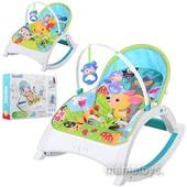 Детский шезлонг, кресло, качалка Bambi 3496 вибро, музыка, игрушки 2 в 1
