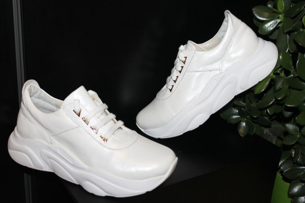 Белые модные кроссовки, кожа натуральная, 34-41р фото №1