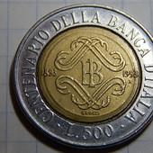 Монета. Италия. 500 лир 1993 года. Юбилейная! 100-летие Банка Италии.