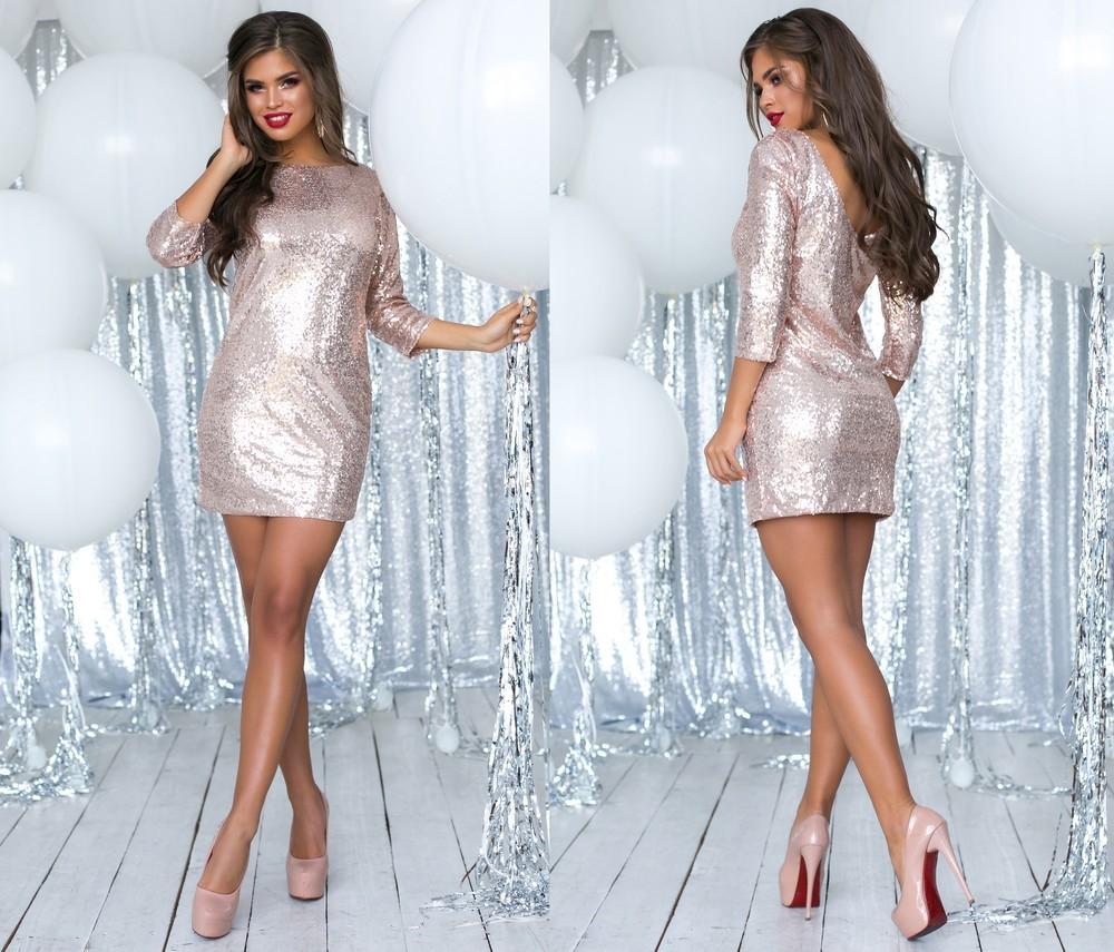 Блестящее коктейльное платье с пайеток шикарный вид фото №1