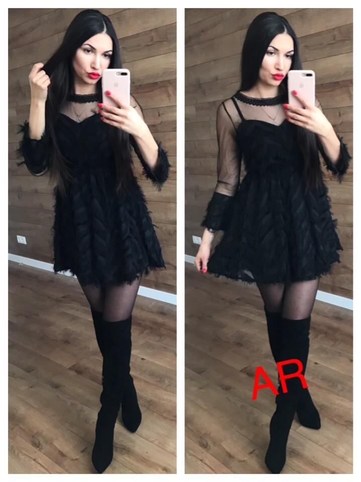 """Платье расклешенное с """"перьями"""" фото №1"""