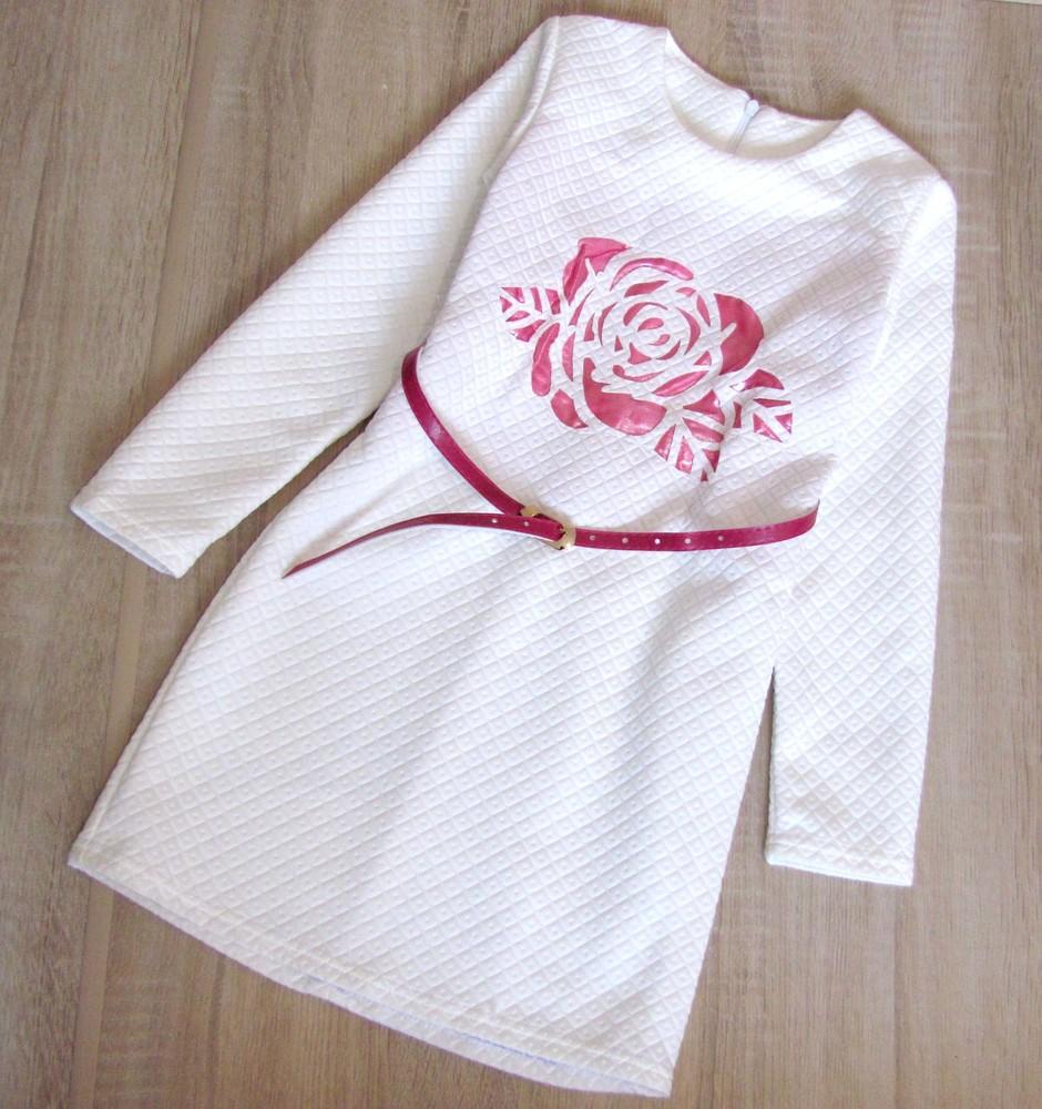 Распродажа! детское нарядное платье р.128-152 роза белое фото №1