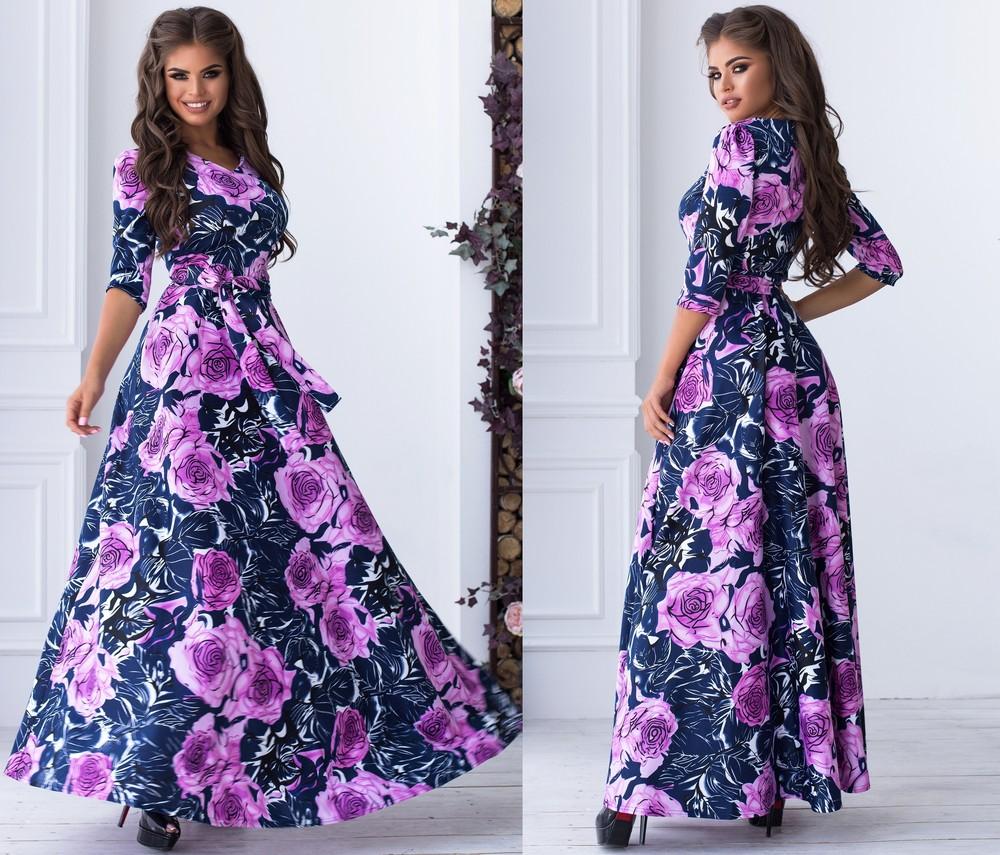 Супер-яркое платье в пол цветочный принт фото №1