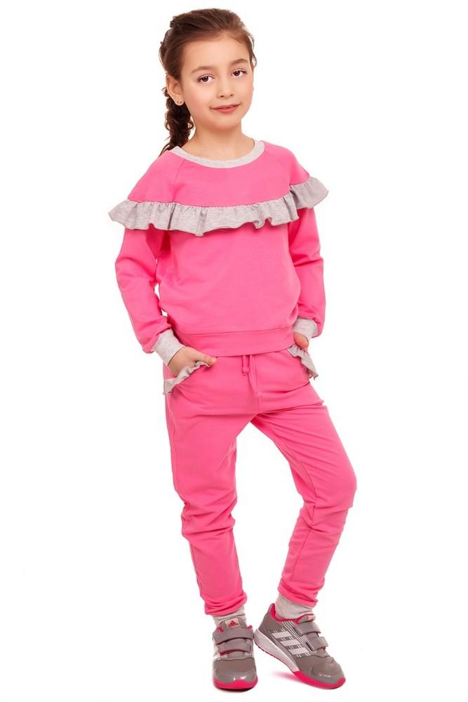 Модный розовы костюм из трикотажа с рюшей для девочки  р110, 116, 122 фото №1