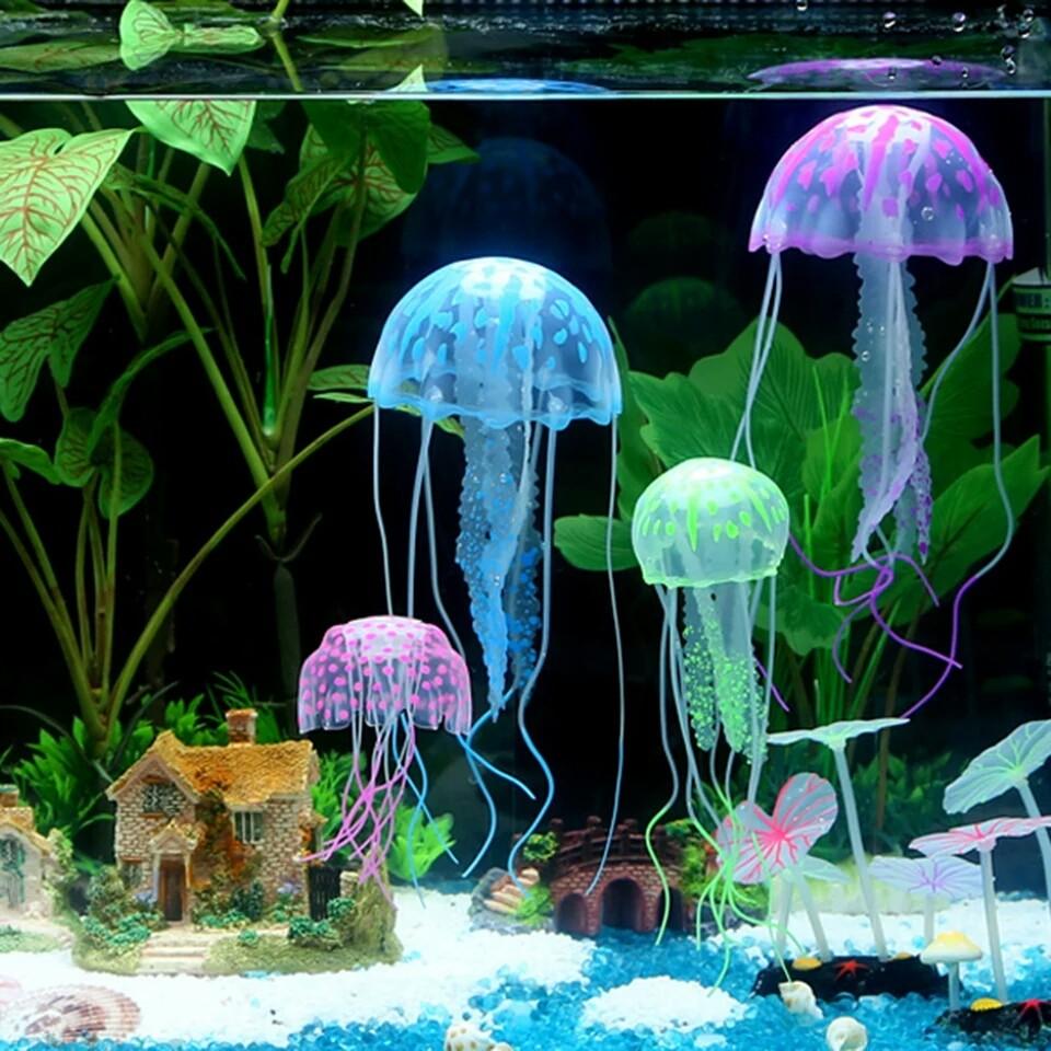Декоративная медуза для аквариума, 6 цветов, новая фото №1