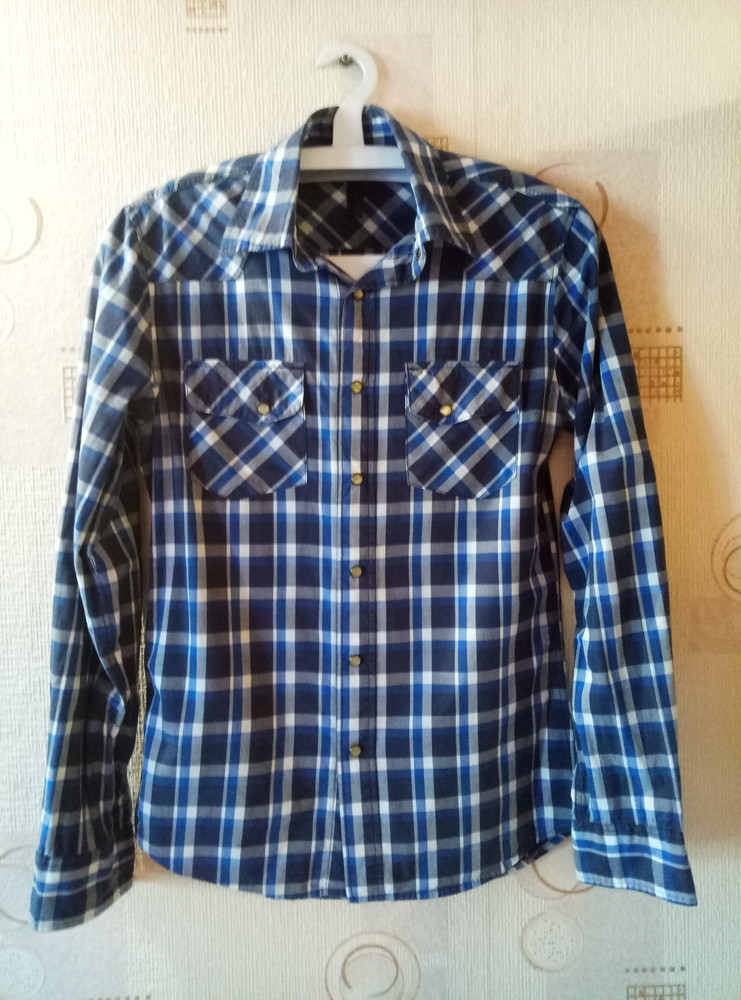 Мужская синяя рубашка в клетку фото №1