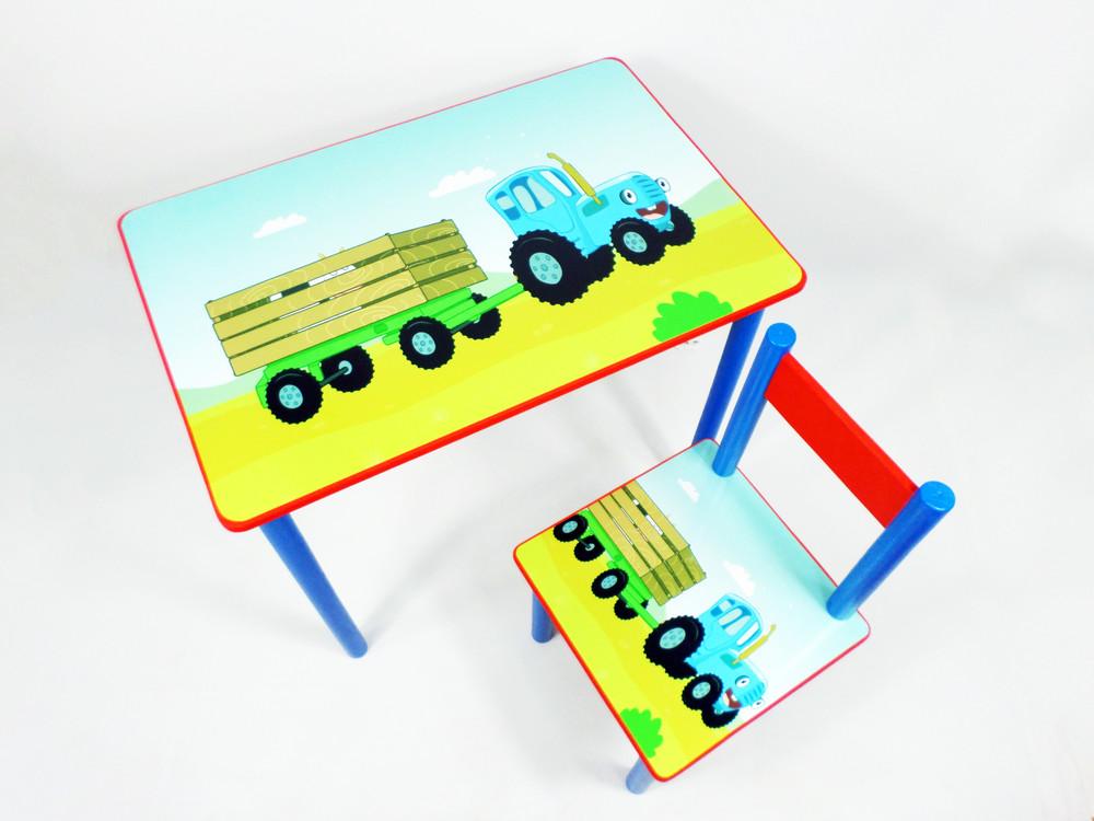"""Стол с ящиком стул """"синий трактор"""" (парта стол) от 2 до 7 лет фото №1"""