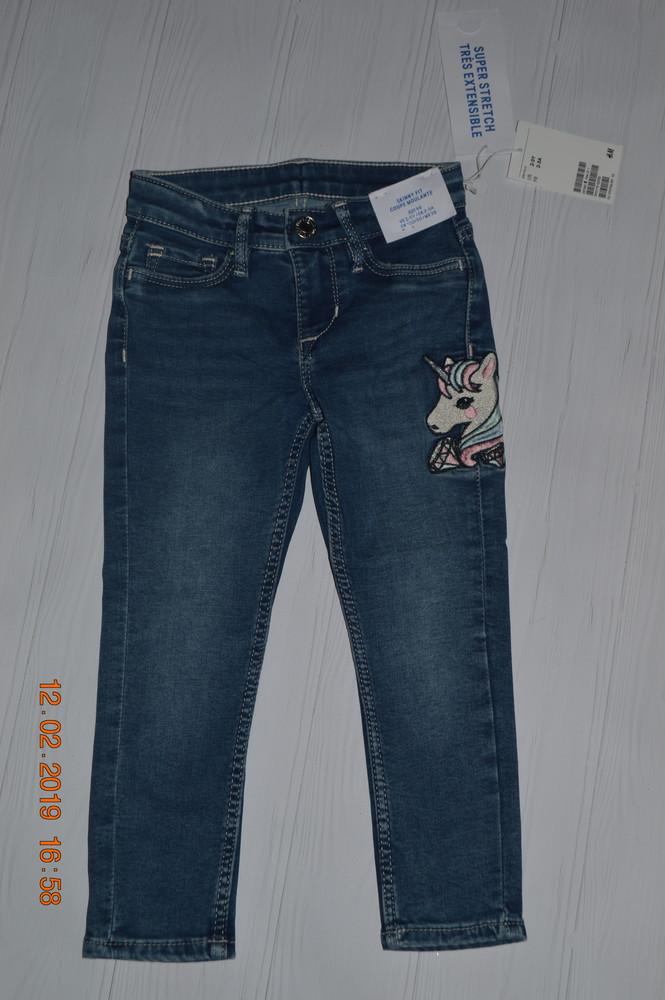 Нові джинси h&m з вишитим єдинорогом розм. 2-3 р./98 см. в наявності фото №1