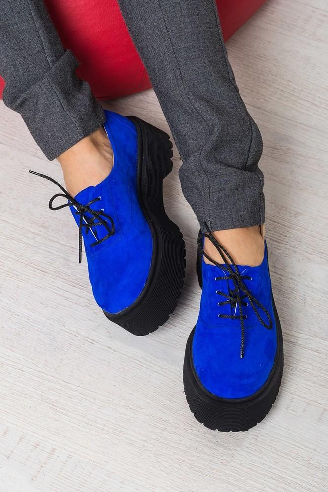 Замшевые туфли броги на толстой подошве разные цвета фото №1