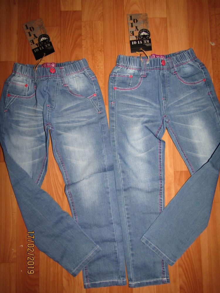 Джинсы брюки для девочек 3 модели 116-146, венгрия фото №1