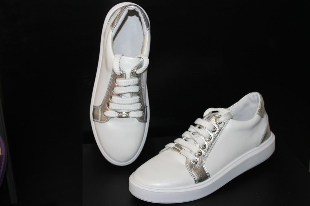 Белые кеды с серебром , кожа натуральная , с 36-41р фото №1